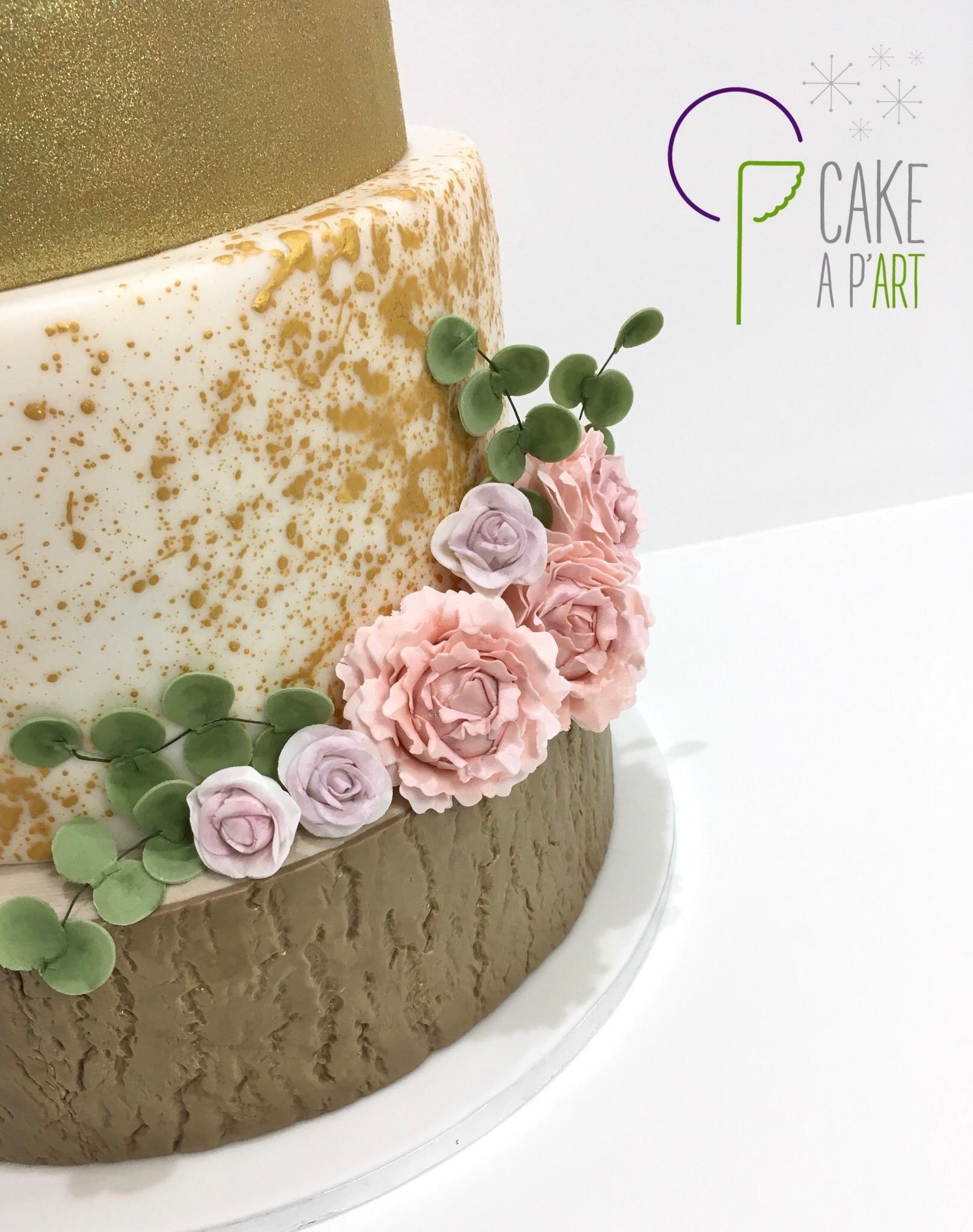 Décor en sucre gâteaux personnalisés - Mariage fleurs Pivoines roses eucalyptus