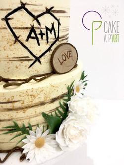 Wedding Cake Pièce montée Mariage - Nude Cake Champêtre Ecorce bois