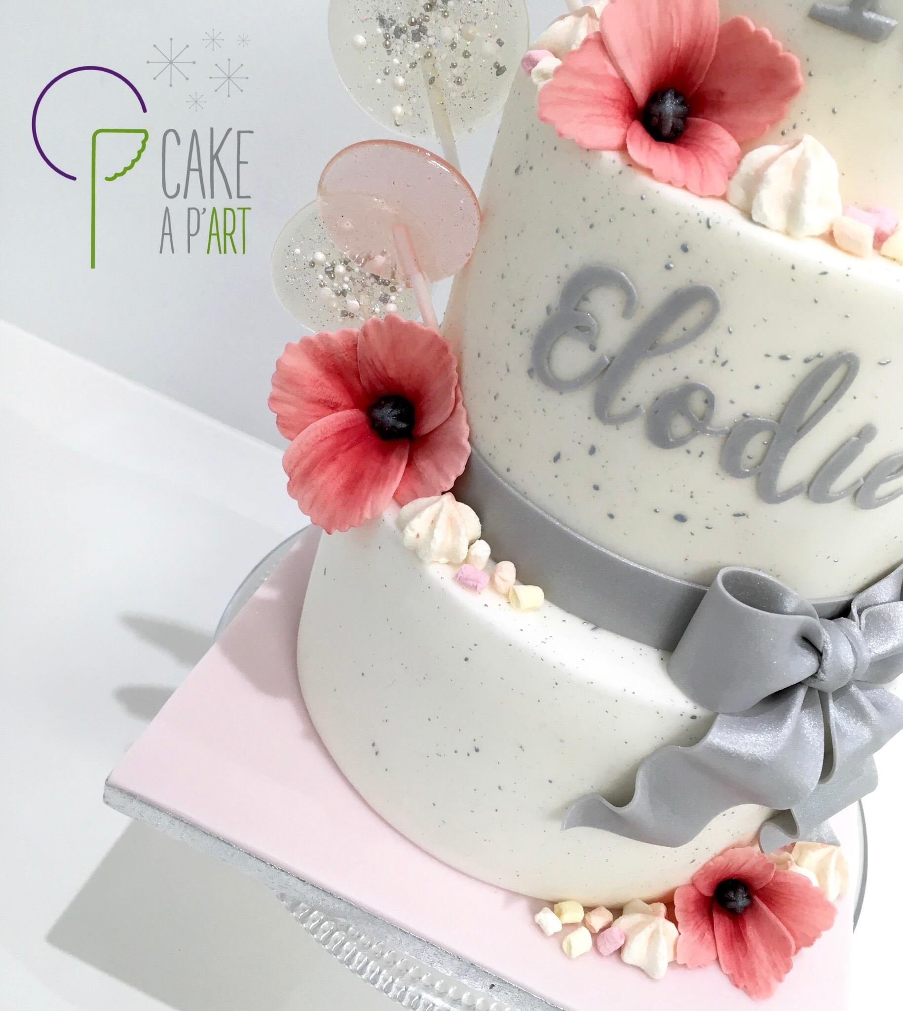 Décor en sucre gâteaux personnalisés - Anniversaire Fleurs Coquelicots Pastel