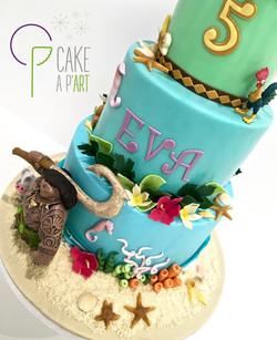 Décor modelage en sucre gâteaux personnalisés - Anniversaire Thème Vaiana Fleurs et coquillages