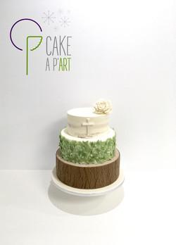 Pièce montée Baptême - Nude Cake Champêtre Bois et feuilles