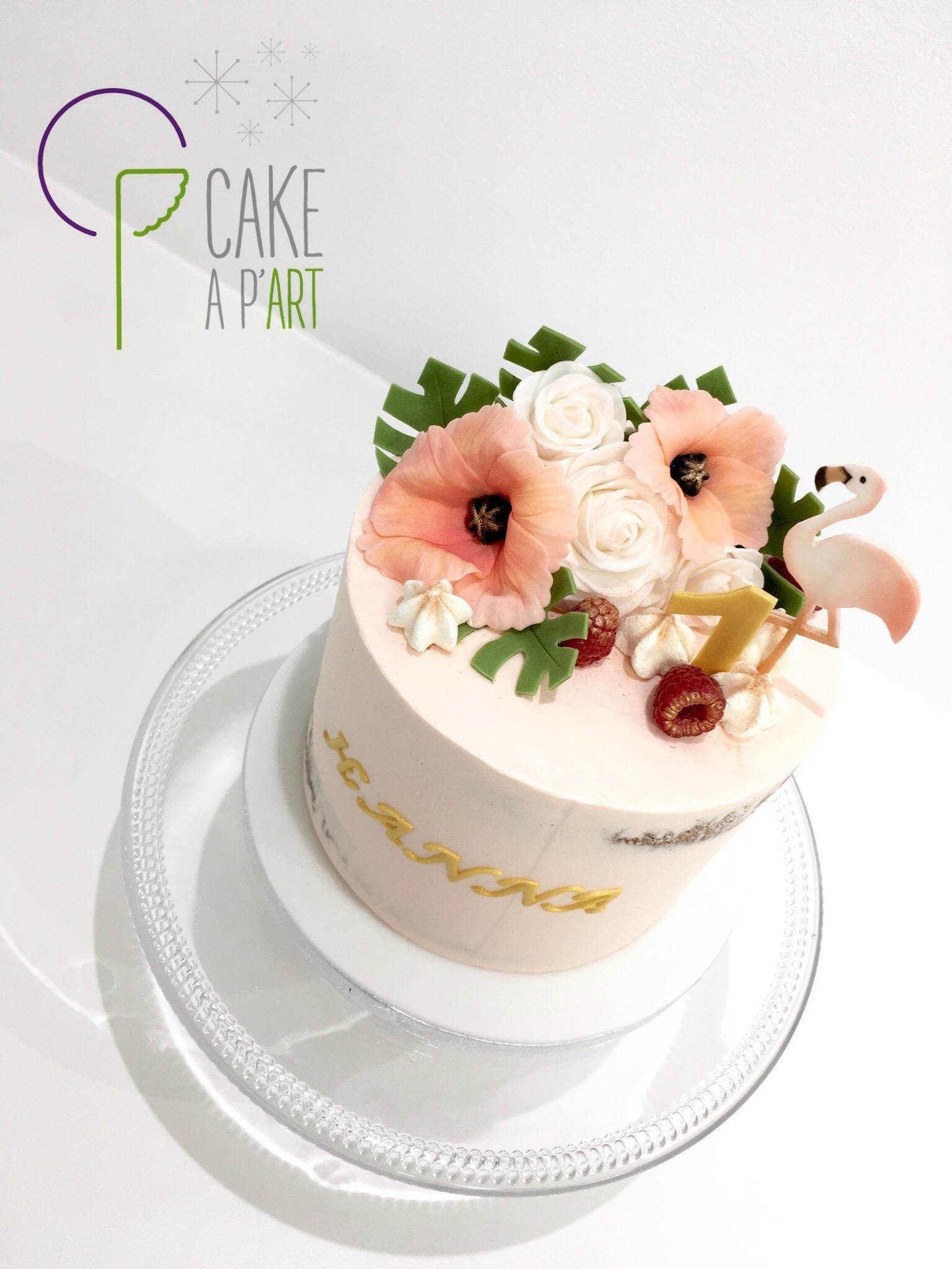 Gâteau personnalisé anniversaire - Nude Cake Floral Exotique Pastel