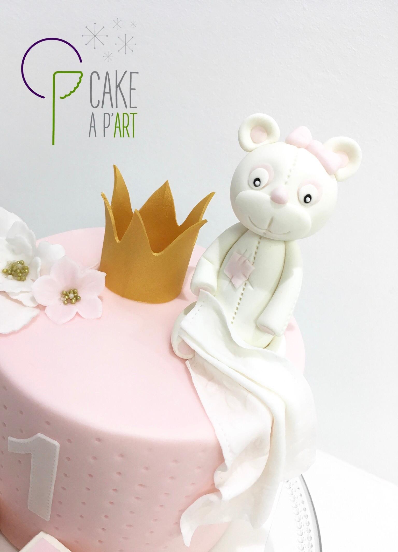 Décor modelage en sucre gâteaux personnalisés - Anniversaire Thème Ourson princesse