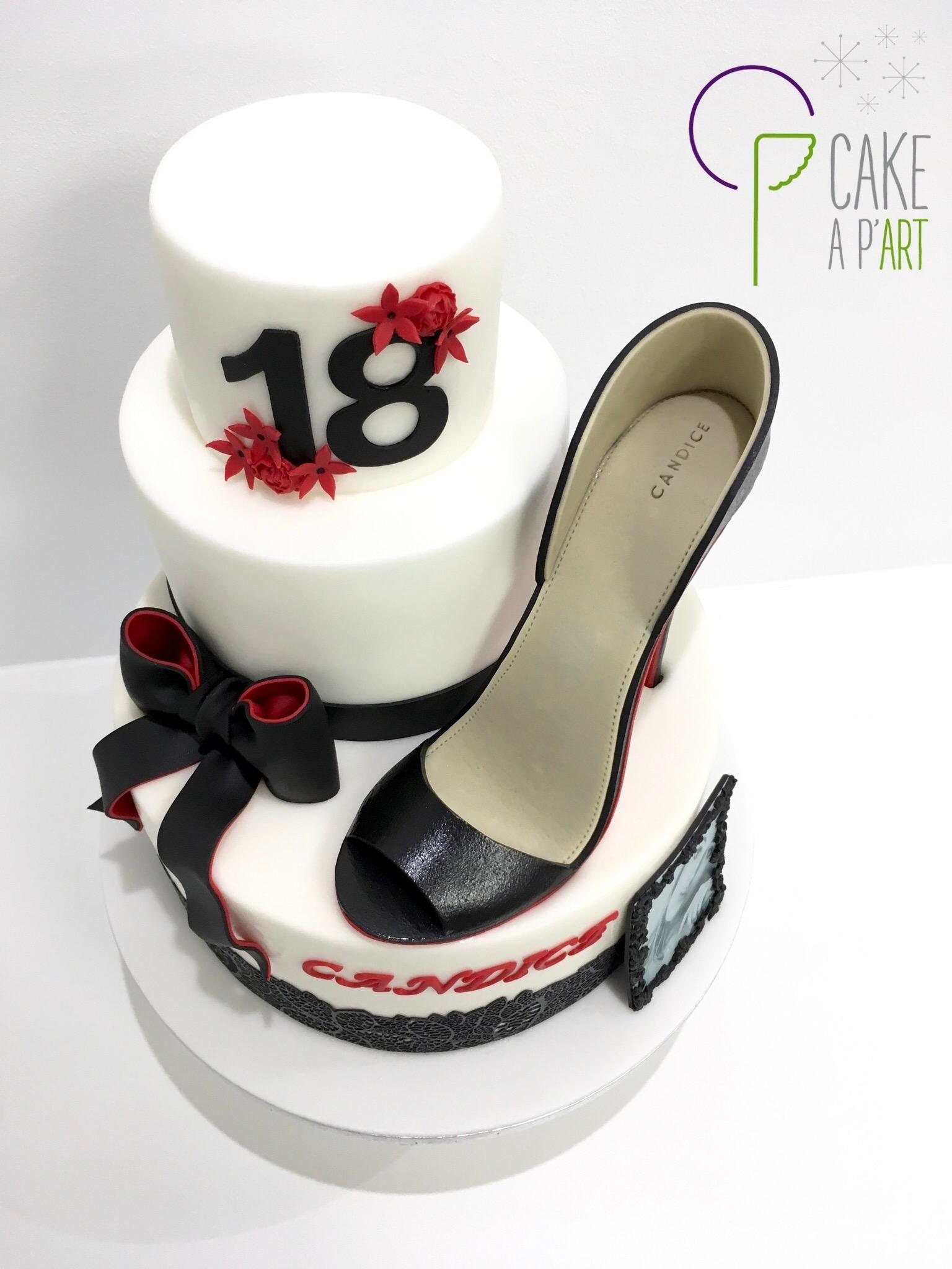 Gâteau sur mesure anniversaire adulte - Thème Glamour et talon aiguille