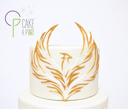 Décor modelage en sucre gâteaux personnalisés - Anniversaire Thème Phoenix doré