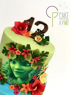 Décor en sucre gâteaux personnalisés - Anniversaire Thème Vaiana Fleurs exotiques