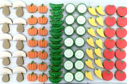 Gâteaux individuels personnalisés Anniversaire - Sablés décorés Thème Doudou et ses légumes