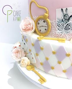 Décor en sucre gâteaux personnalisés - Mariage Alice aux pays des merveilles Roses pastels
