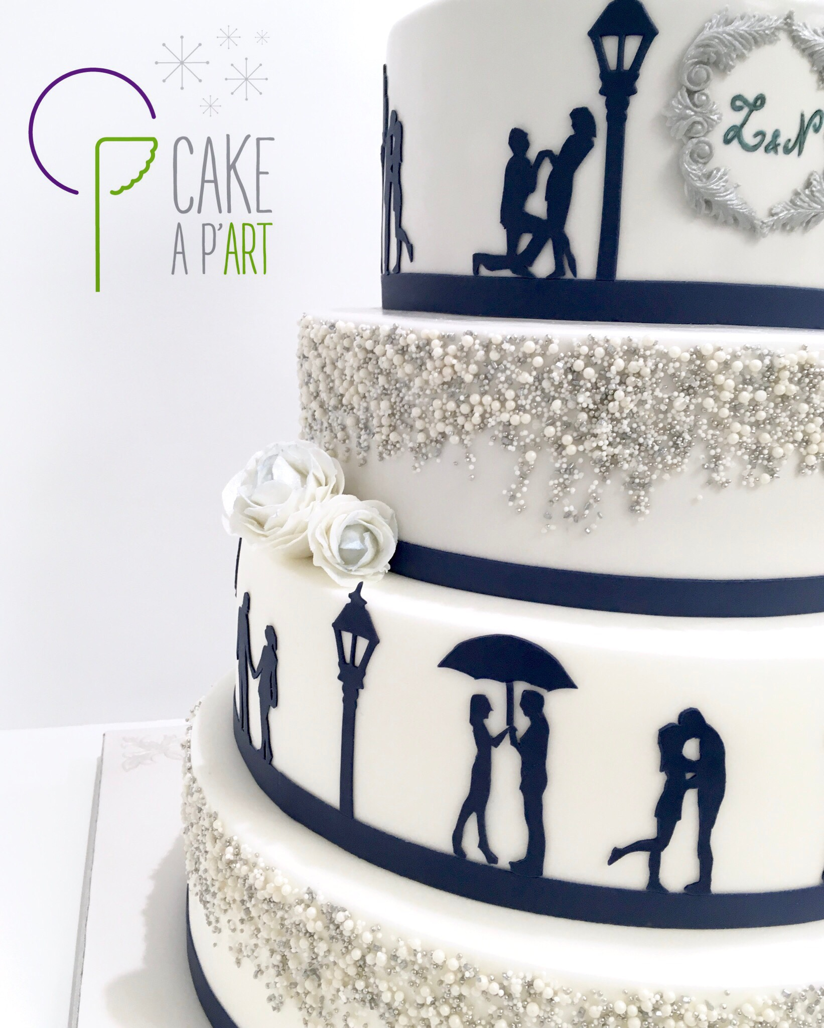 Wedding Cake Pièce montée Mariage - Thème Bleu Argent Ombres mariés