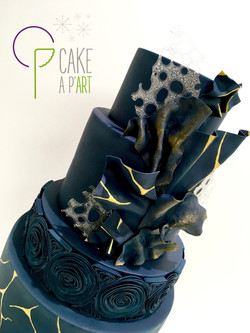 Décor modelage en sucre gâteaux personnalisés - Mariage Thème Graphique Bleu nuit et Or