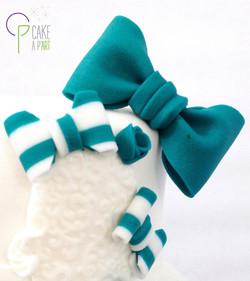 Décor modelage en sucre gâteaux personnalisés - Baptême Thème Noeud Turquoise