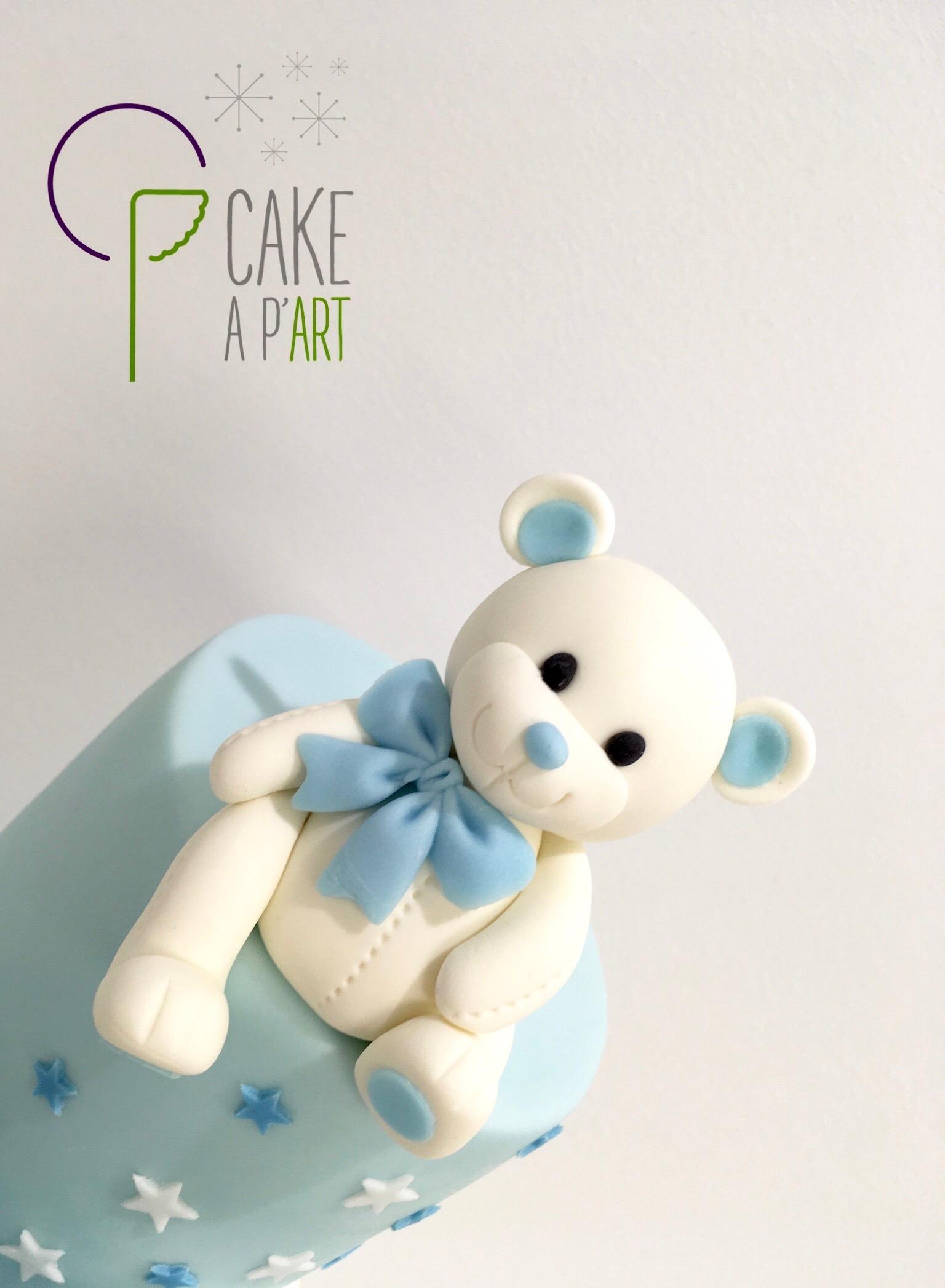Décor modelage en sucre gâteaux personnalisés - Babyshower Thème Ourson bleu