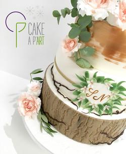 Wedding Cake Pièce montée Mariage - Thème Champêtre floral et Cuivre