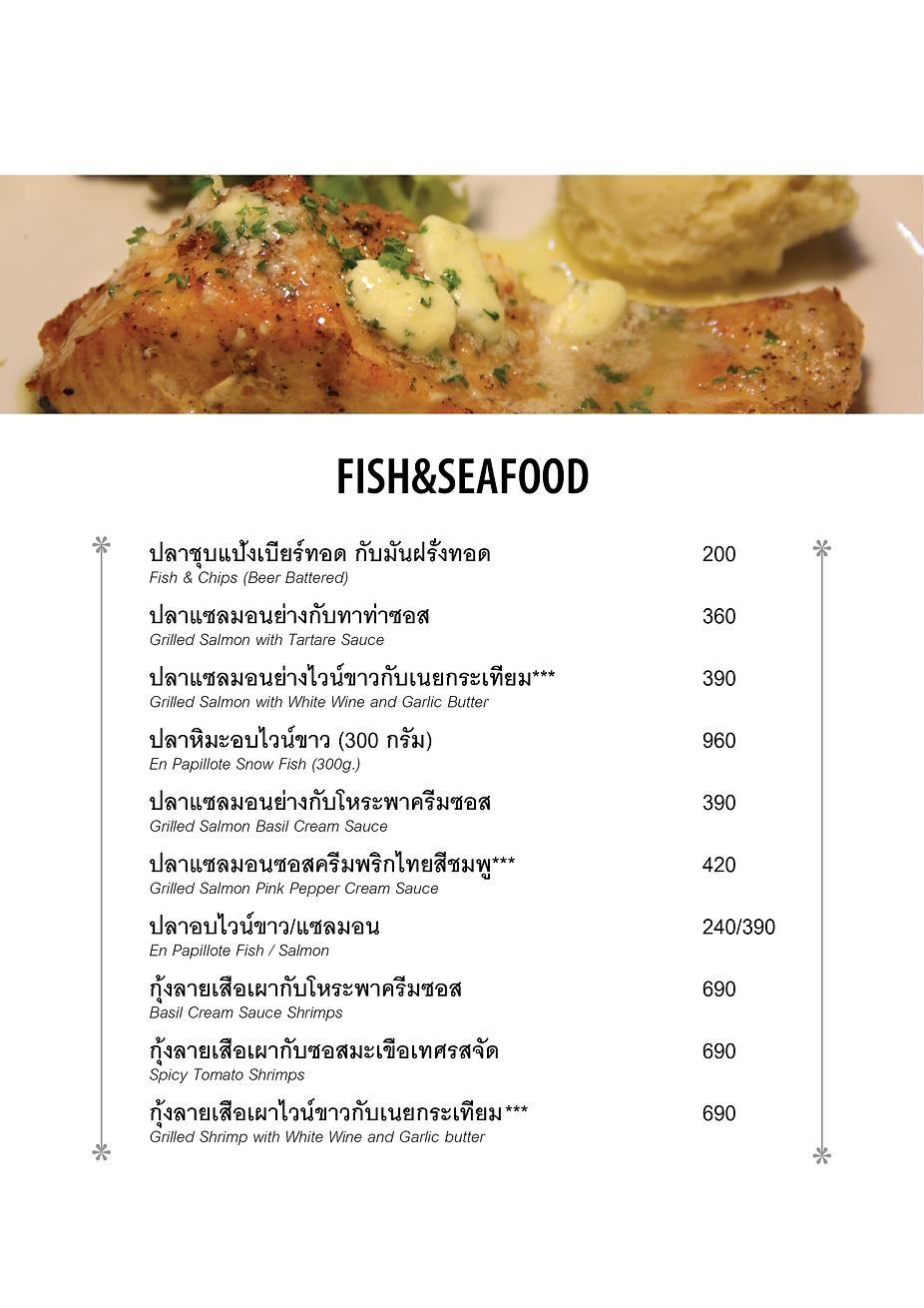 Chef's Table Steve Menu Fish & Seafood