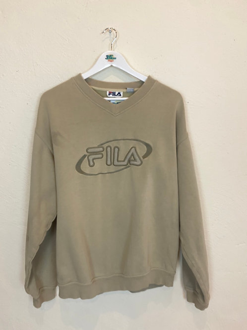 Beige Fila V-neck Sweater (M)