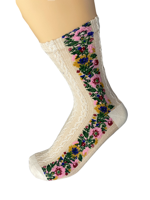 Cream Floral Socks