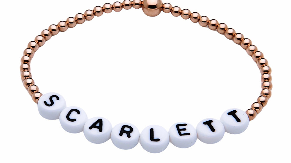 Rose Gold Personalised Bracelet with White letters
