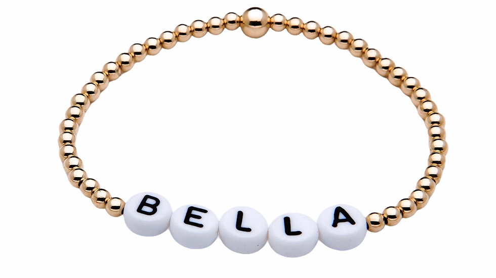 14k Gold Filled Personalised Bracelet with White letters