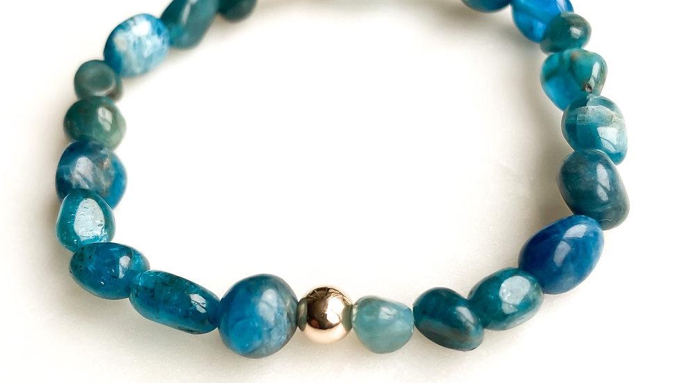 Blue Neon Apatite 360 Gemstone Bracelet