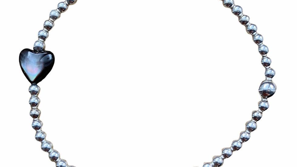 Black Mother of Pearl Heart Bracelet