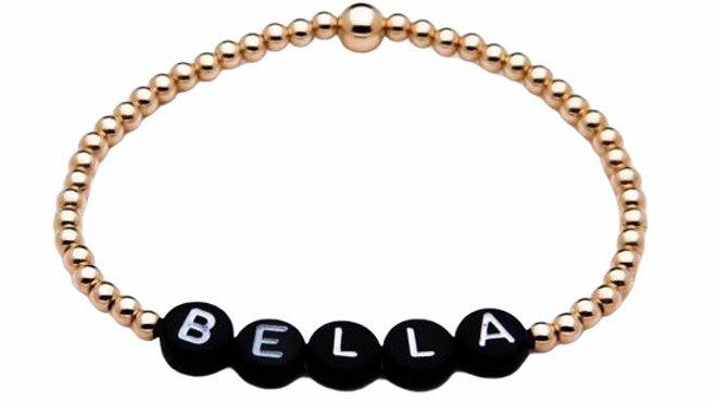 14k Gold Filled Personalised Bracelet with Black letters