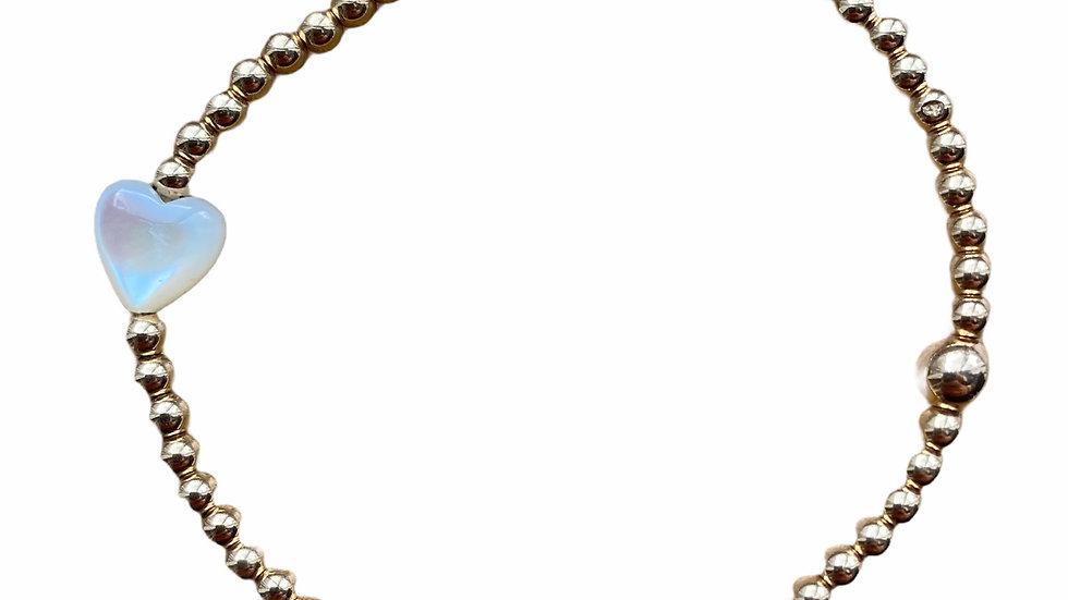 White Mother of Pearl Heart Bracelet