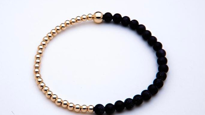 Blue Goldstone Gemstone Bracelet
