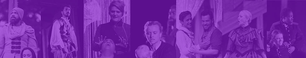 A banner that has a various performance photos from Nebraska Shakespeare with a purple overlay.