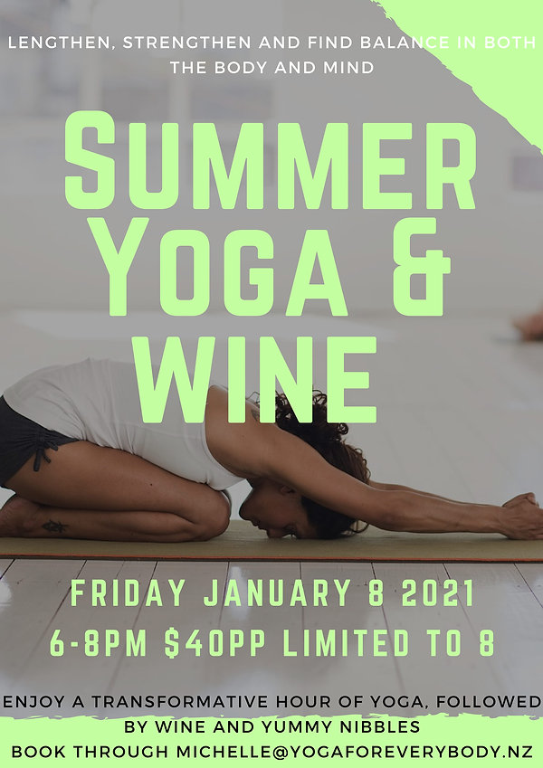 summer yoga and Wine 2021 poster