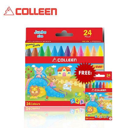 Colleen Jumbo Wax Crayon Free 2 X 12pcs Regular Wax Crayon (24 Colors) JC-24