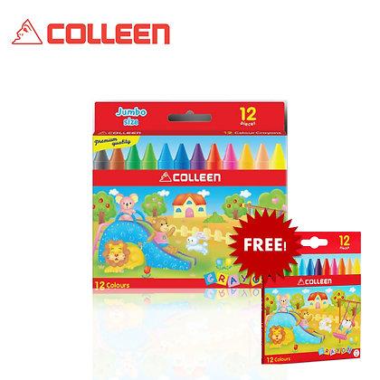 Colleen Jumbo Wax Crayon Free Regular Wax Crayon (12 Colors) JC-12