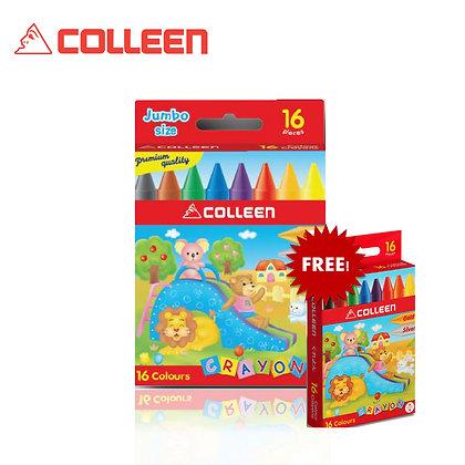 Colleen Jumbo Wax Crayon Free Regular Wax Crayon (16 Colors) JC-16