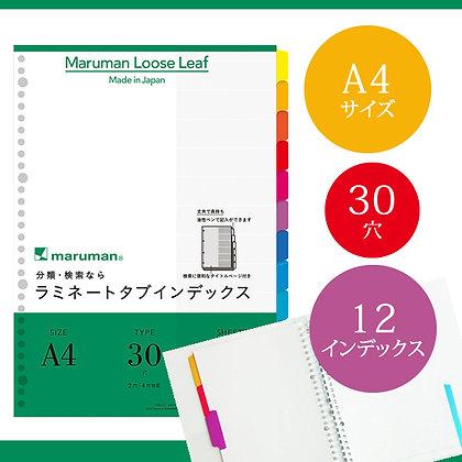 Maruman A4 Laminating Tab Index Loose Leaf (30 Hole 12 Tab) LT4012