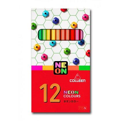 Colleen 775 Neon Coloured Pencil Hexagon 12 Colours COL 775-12