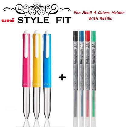 Uni Style Fit Multi Pen Shell 4 Colors + 4 Refills UE4H-227