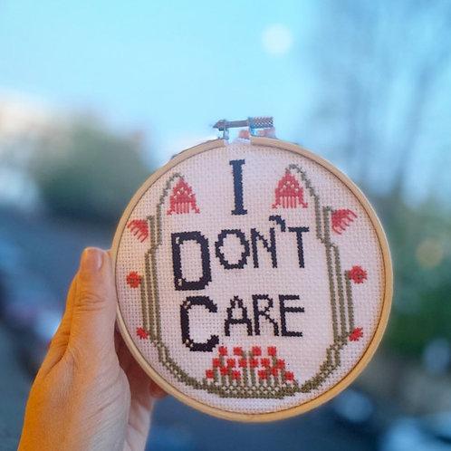 """I Don't Care"" English Cross Stitch Kit"