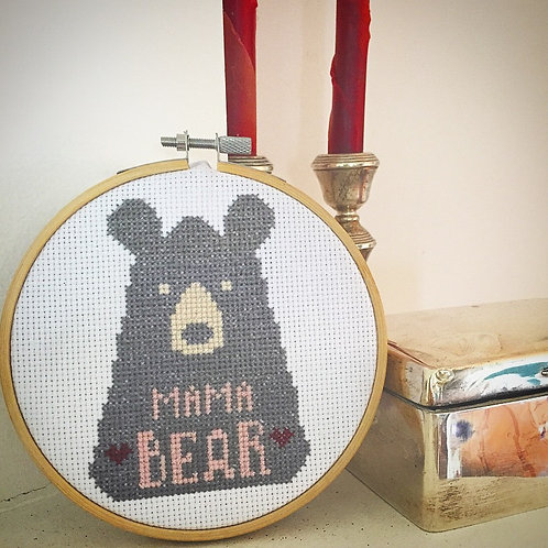 Mama Bear Cross Stitch Pattern