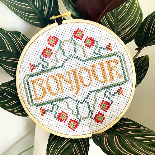 Bonjour Cross Stitch Kit