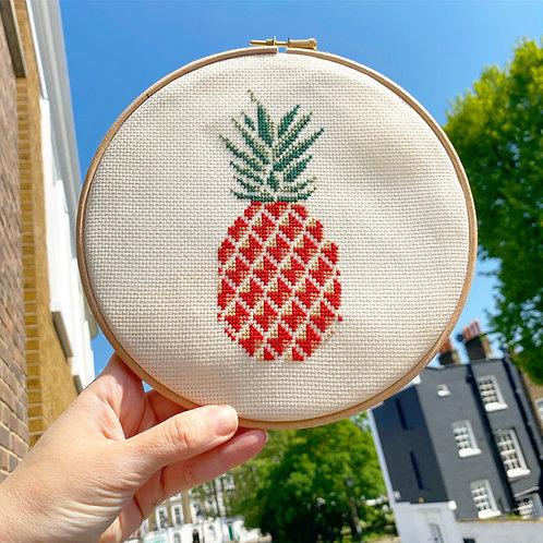 Boho Hipster Pineapple Cross Stitch Kit