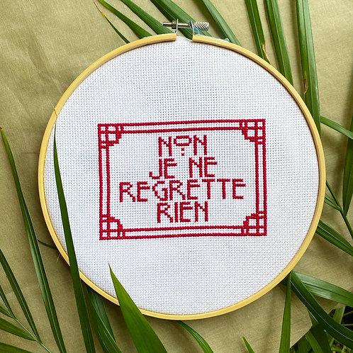 """French """"No I Regret Nothing""""Cross Stitch Kit 5""""X7"""""""
