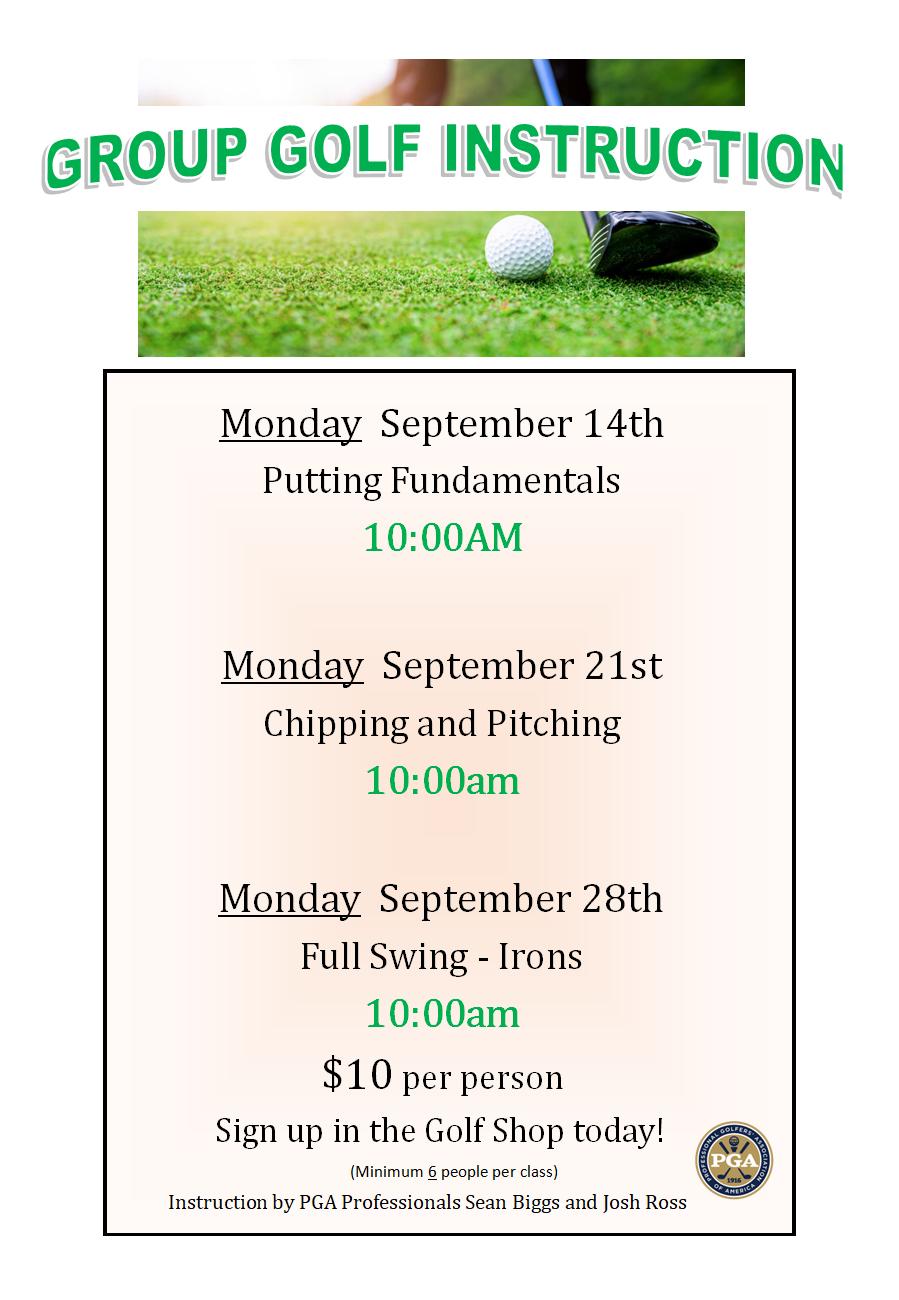 sept 2020 golf clinics