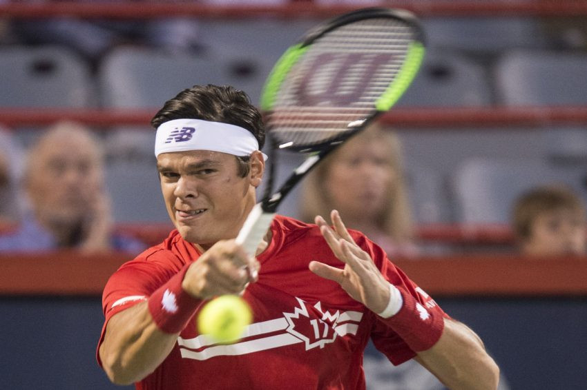 Technically, Downey says he wasn't supposed to cheer when Milos Raonic, seen here at the 2017 Rogers Cup, beat Roger Federer at Wimbledon last summer, but the Tennis Canada CEO said he couldn't help himself.  (PAUL CHIASSONTHE CANADIAN PRESS)