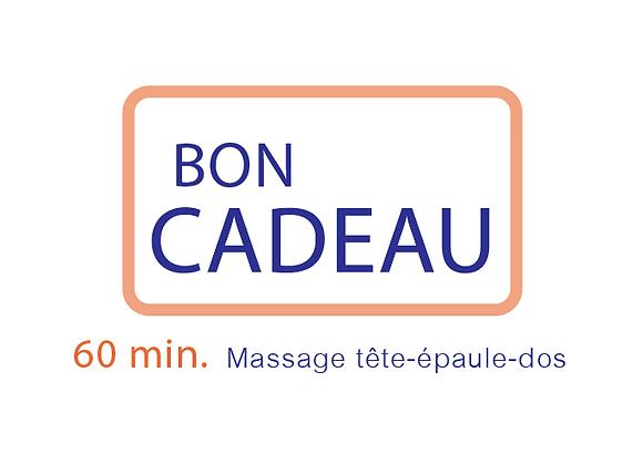 Bon cadeau Massage tête-épaule-dos  60 min.