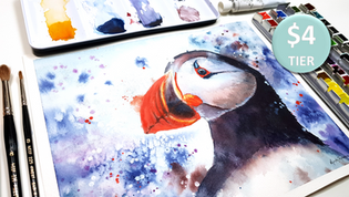 Puffin in Watercolour