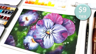 Violet Flowers in Watercolour