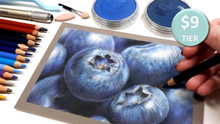 Blueberries in Pan Pastel & Coloured Pencil