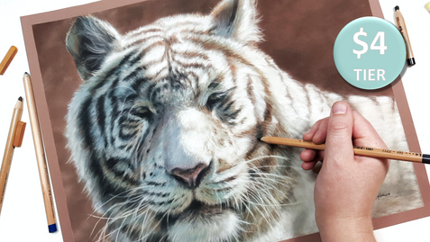 White Tiger in Pastels