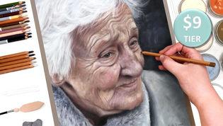 Elderly Woman in Pastels