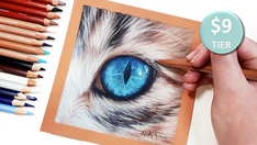 Cat Eye in Coloured Pencil