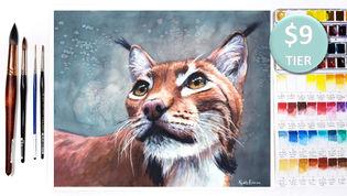 Lynx in Watercolour